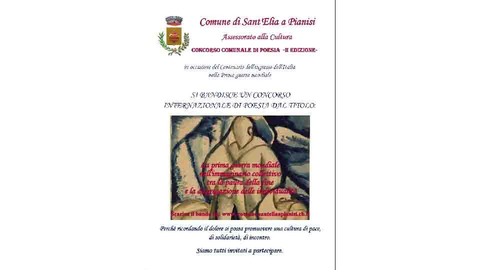 SANT'ELIA A PIANISI, CONCORSO INTERNAZIONALE DI POESIA