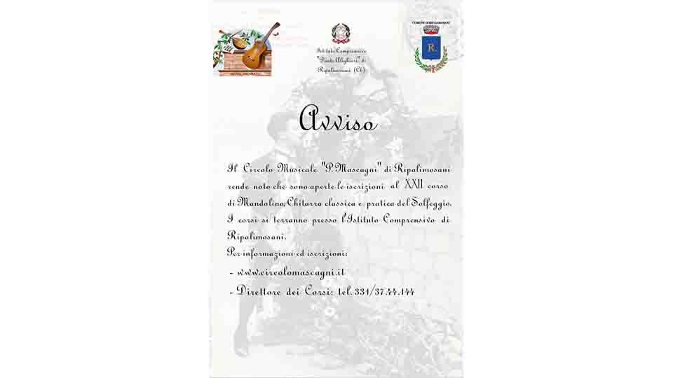 CORSO DI MUSICA GRATUITO A RIPALIMOSANI