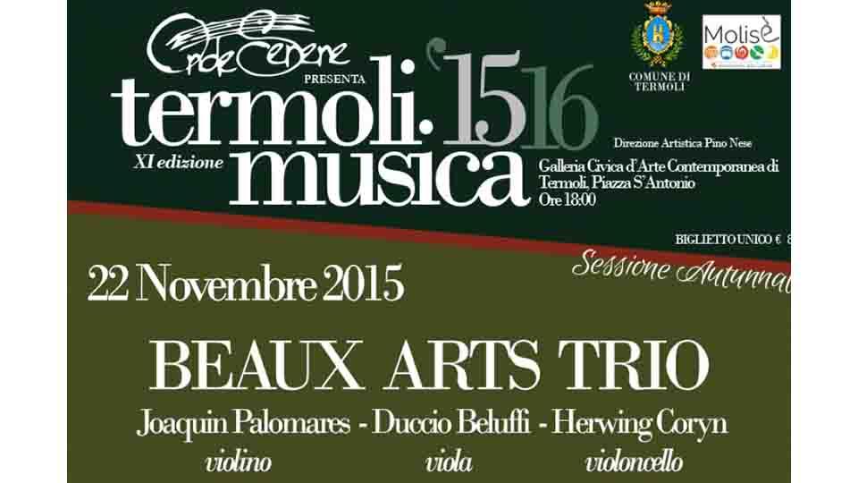 IL 22 NOVEMBRE BEAUX ART TRIO A TERMOLI IN MUSICA