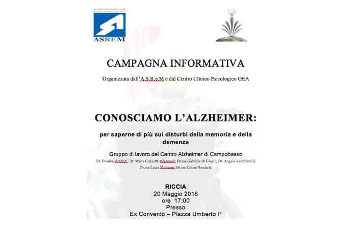 RICCIA, CONOSCIAMO L'ALZHEIMER
