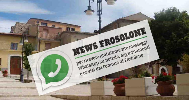 FROSOLONE, COMUNE SOCIAL COL SERVIZIO NEWS SU WHATSAPP