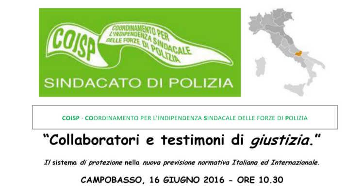 COLLABORATORI DI GIUSTIZIA, GIORNATA DI STUDIO A CAMPOBASSO