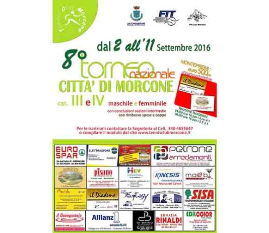 """Torneo di Tennis """"Città di Morcone"""", tutto pronto per lo start"""