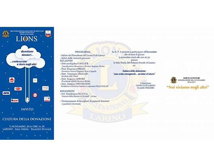 Cultura della donazione, evento targato Lions Club a Larino