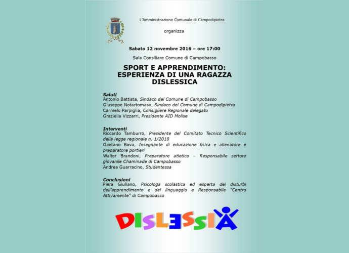La dislessia tra sport e apprendimento, evento oggi a Campobasso